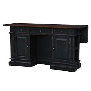 Image Is Loading Black Distressed Kitchen Island Counter Drop Leaf Bar