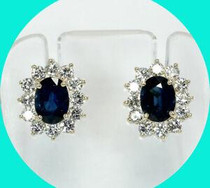 Estate 5.10CT H diamond sapphire halo drop stud earrings 14K YG natural oval