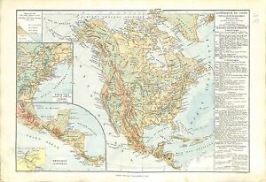 Amerique-du-Nord-North-America-Central-Antilles-USA-Canada-MAP-CARTE-ATLAS-1882