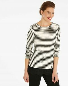 Capsule-New-Women-039-s-Striped-Top-Lace-Hem-Long-Sleeve-Shirt-Ivory-and-Black-BNWT