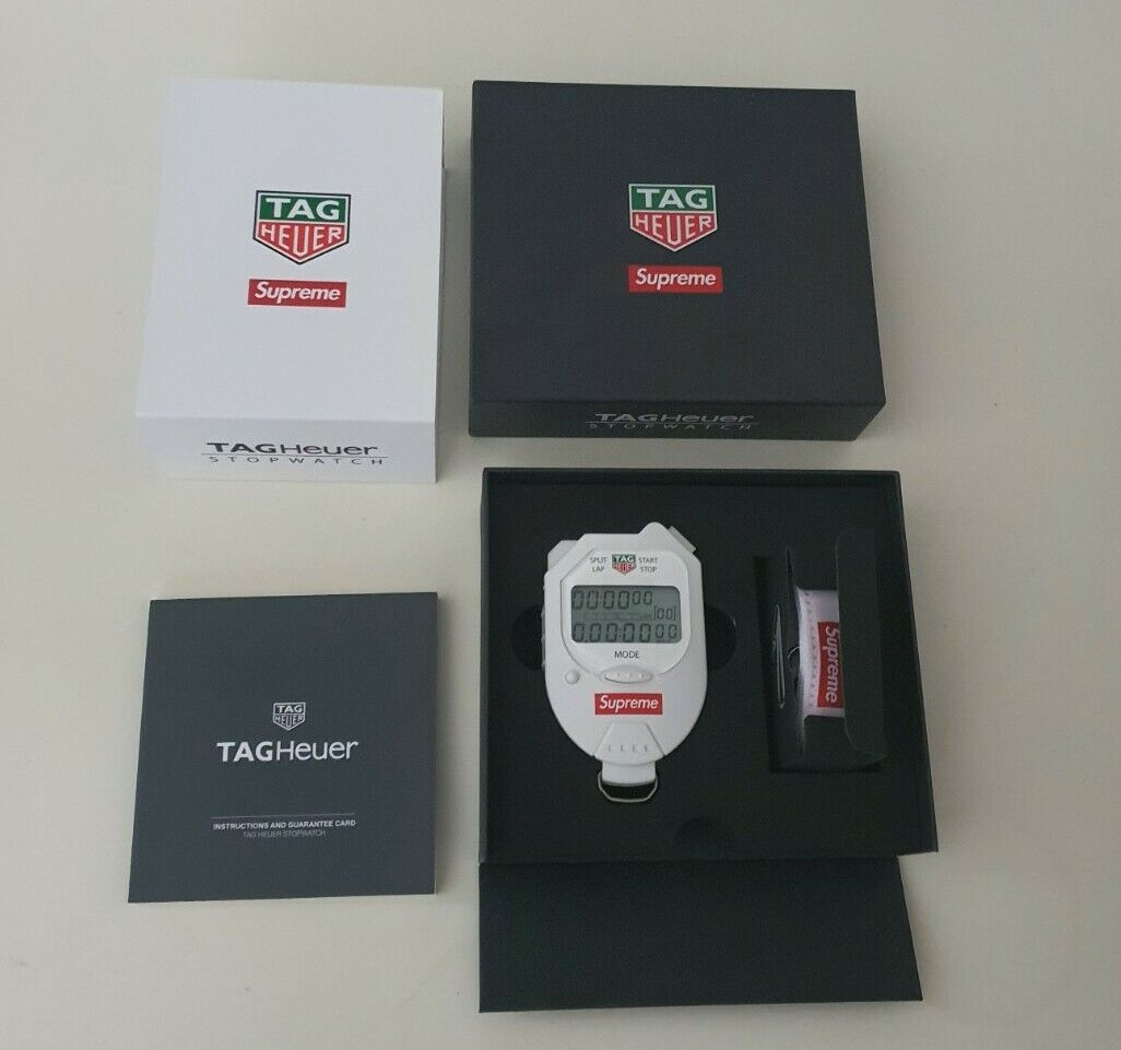 New and unused FW18 Supreme x Tag Heuer white pocket pro stopwatch