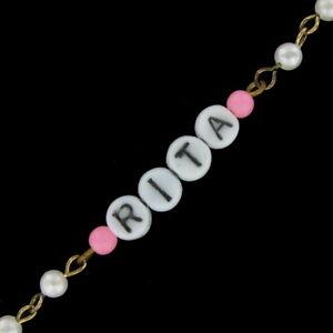 Rita - Pink Glass Faux Pearl Name Link Bracelet - Circa 1950-60
