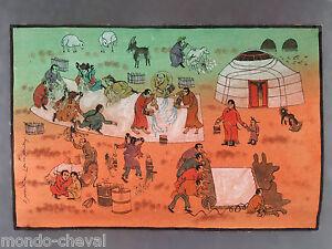Peinture Traditionnelle Mongole Toile Pigments Signee Fabrication Du Feutre Ebay
