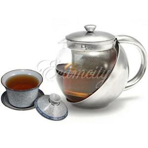 stainless steel glass tea pot teapot with loose tea leaf. Black Bedroom Furniture Sets. Home Design Ideas