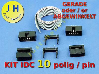 IDC KIT 10 polig /pin + 30 cm Flachbandkabel Ribbon cable  Buchse Stecker Header