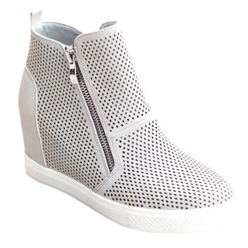 Damen High-Top Keilabsatz Sneaker Boots Schuhe Slip On Turnschuhe Sportschuhe DE