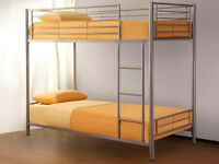 Silver Metal Bunk Bed + Memory Mattress, Luxury Mattress, Cheap Mattress