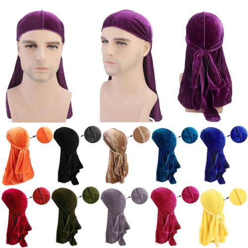 Men Lady Velvet Silk Breathable Bandana Hat Turban Cap Doo Durag Headwear IU