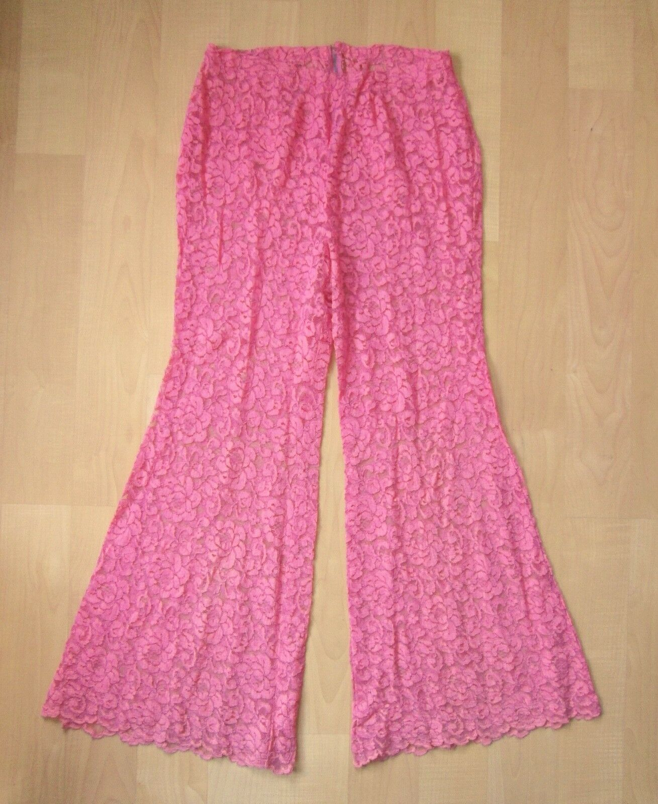 Vtg 60s pink 2-pc babydoll top bell bottom lace p… - image 6