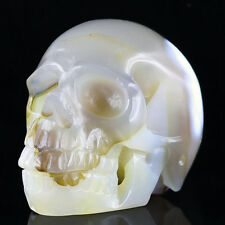 "2.67"" BRAZIL CRYSTAL AGATE Carved Crystal Skull, Realistic,Crystal Healing AB37"