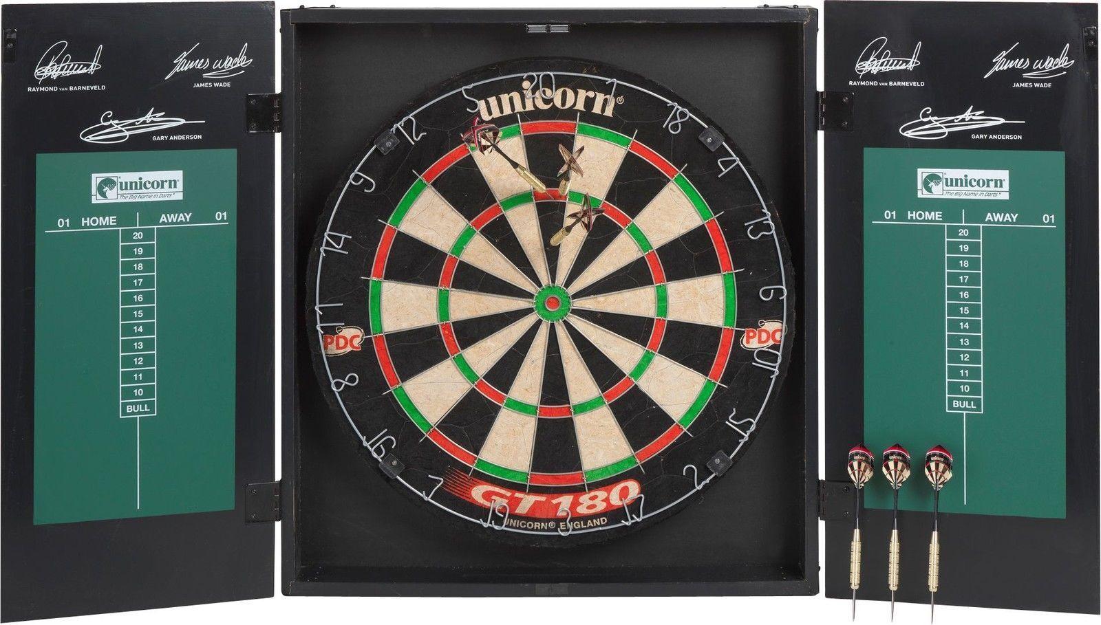 Original Unicorn Dartboard in Wooden Cabinet with Chalk Wiper & 2 Sets of Darts