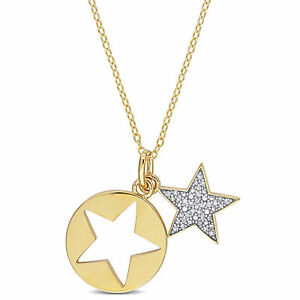 Amour Diamond Yellow-Plated Sterling Silver Star Charm Pendant