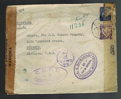 Portugal & Kolonien Herzhaft 1944 Funchal Portugal Dual Zensiert Abdeckung Zu Usa üBerlegene Materialien