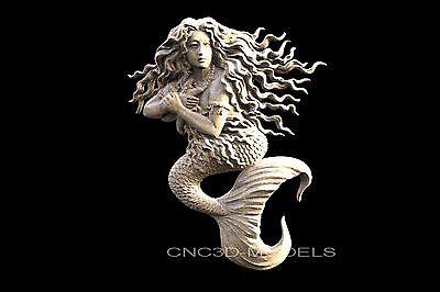 3D STL Models for CNC Router Engraver Carving Artcam Aspire Women Mermaid 1409