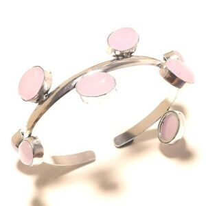 Free-Postage-Silver-Overlay-Rose-Quartz-Bangel-Cuff-Gemstone-Handmade-Jewelry