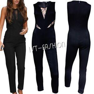 Femme Salopette Sans Manches Bretelle Extensible Combinaison Pantalon Jumpsuit