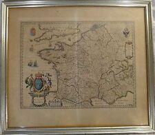 "Original Old World map - Kingdom of France, Mid- 17th c. W. & J. Blaeu, 23 x 19"""