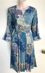 REGATTA-Patchwork-Print-Viscose-Roll-Longsleeves-Tab-Button-Pleat-Dress-14-NWT