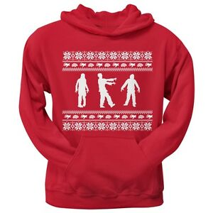 Zombie Christmas Sweater.Details About Zombie Ugly Christmas Sweater Red Adult Pullover Hoodie Hooded Sweatshirt