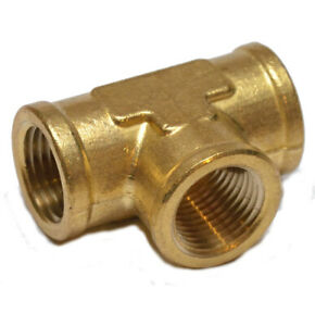 1/2 Npt Female Pipe T Tee 3 Way Brass Fitting Fuel Vacuum Air Water Oil Gas