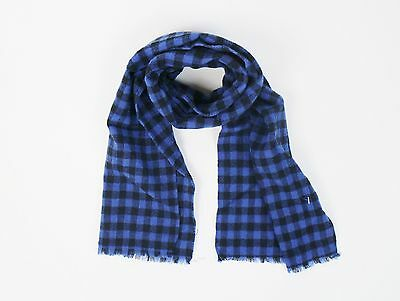 NWT Drake's Luxurious Men's Blue And Black Checked 100% Wool Scarf $225