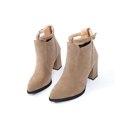 Fashion Womens Suede Short Ankle Boots High Chunky Heel Zip Winter Pointed Shoes