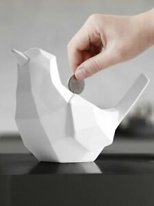 Nordic Style White Bird Piggy Bank Resin Savings Box Desktop Decor Toys For Kind
