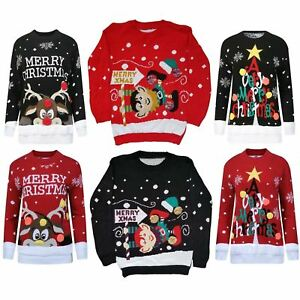 b5ab98907ea Details about KIDS GIRLS BOYS XMAS JUMPER A VERY MERRY CHRISTMAS TREE 3D  BAUBL POM JUMPERS Top