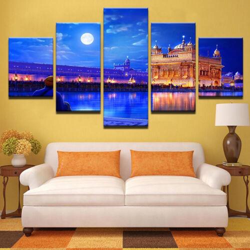 Golden Temple Amritsar Cantt 5 Panel Canvas Print Wall Art