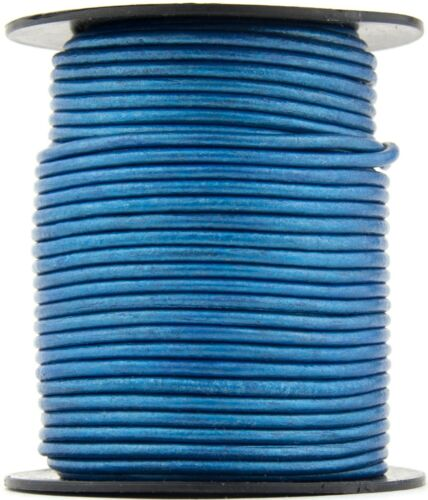 Xsotica® Blue Metallic Round Leather Cord 1.5mm 10 meters 11 yards