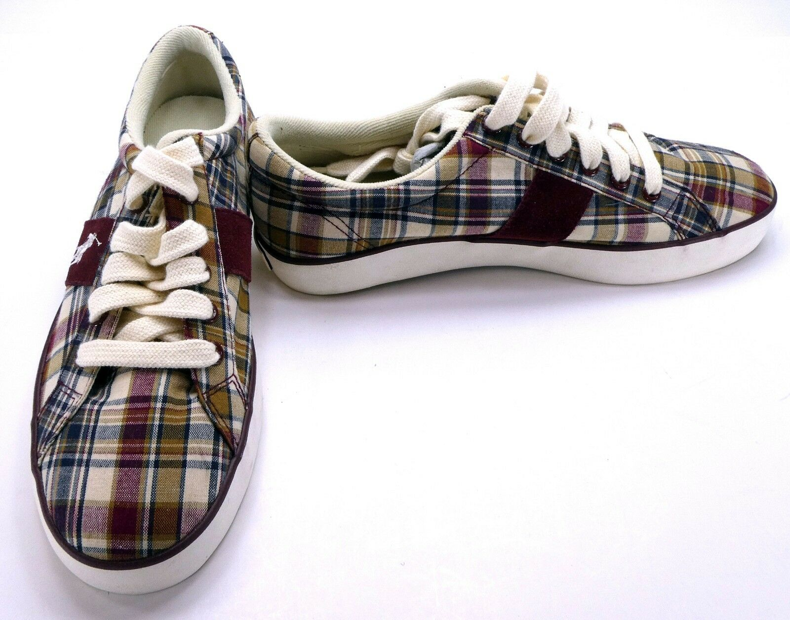 Polo Ralph Lauren shoes Harold Canvas Plaid Red Cream Sneakers Size 7.5