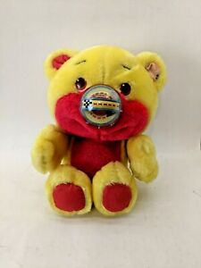 "1987 Playskool TCFC Nosy Bear ""HOTROD"" Race Car Yellow Plush 11"""