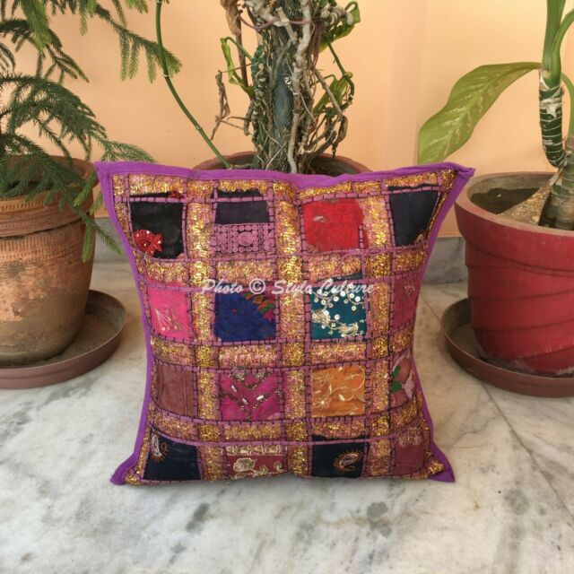Indian Handmade Designer Cushion Cover Patchwork Cotton Pillow Case Cover 16""