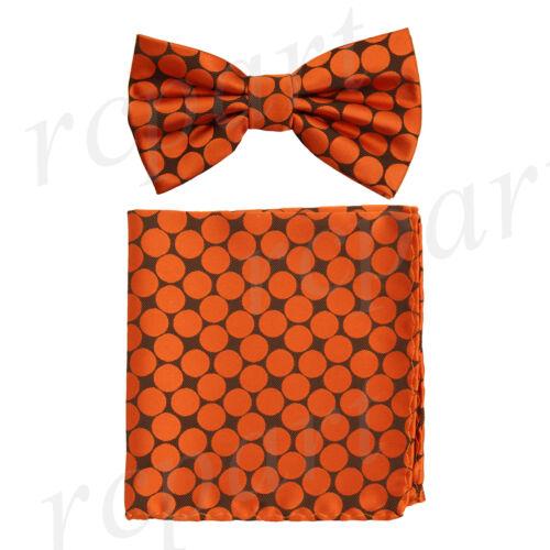 Men/'s microfiber Pre-tied Bow Tie /& hankie set black orange dots formal prom