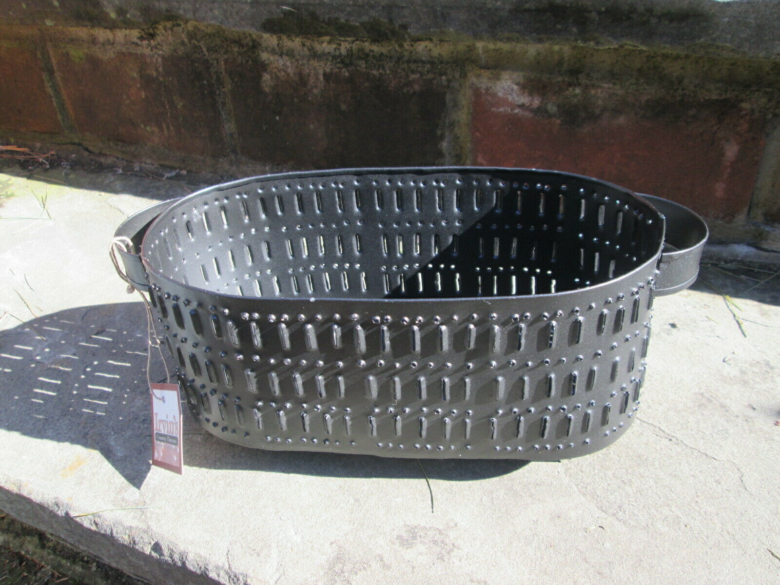 COLONIAL 18TH C REPRO OVAL MOLD COLANDER CHEESE BERRY DRAINER PUNCHED TIN NEW