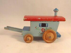 Efficace Ancien Jouet Miniature Véhicule Roulotte Bois Peint Années 50 Jolie Et ColoréE
