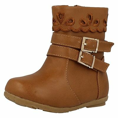 Infant Girls Spot On! H4105 Synthetic Zip Up Boots