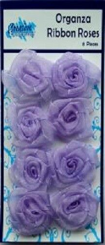 Creative Expressions ORGANZA RIBBON ROSES  8 pieces PALE LILAC RR018