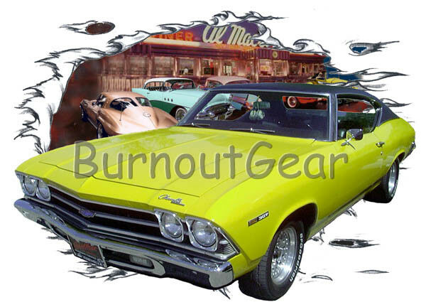 1969 giallo Chevy Chevelle SS Custom T-Shirt Hot Rod Diner T-Shirt Custom 69 Muscle Car Tees f653b0