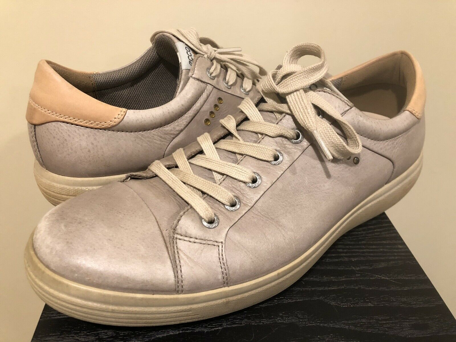 ECCO Extra Width Ivory Creme Beige Leather Oxford Sneakers shoes MENS 45 Fashion