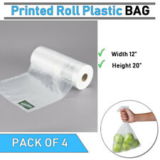 Plastic Side Print Produce Bag On A Roll Pack Of 4 12 X 20