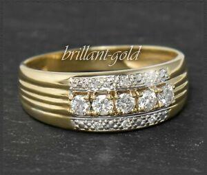 Diamant-Damen-Ring-mit-0-34ct-Brillanten-585-Gold-14-Karat-Gelbgold-Bandring