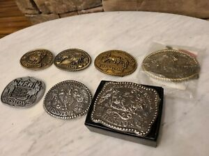 1979-1985-Hesston-National-Rodeo-Finals-Belt-Buckle-Collection-7-Pcs