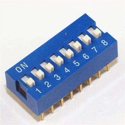 3PCS Blue 2.54mm Pitch 8-Bit 8 Positions Ways Slide Type DIP Switch NEW