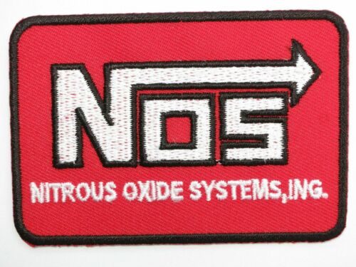 """NOS Nitrous Oxide Drag Car Racing Hotrod Iron On Embroidered Patch 3/""""x2/"""""""