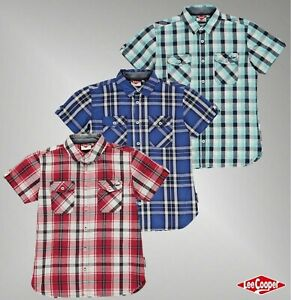 Boys-Lee-Cooper-Cotton-Pockets-Short-Sleeve-Check-Shirt-Age-from-7-to-13-Yrs