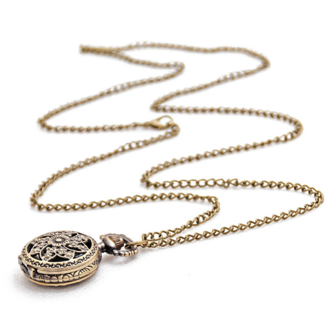 Fashion Vintage Retro Bronze quartz watch pocket Chain pendant necklace (lo Q4R7