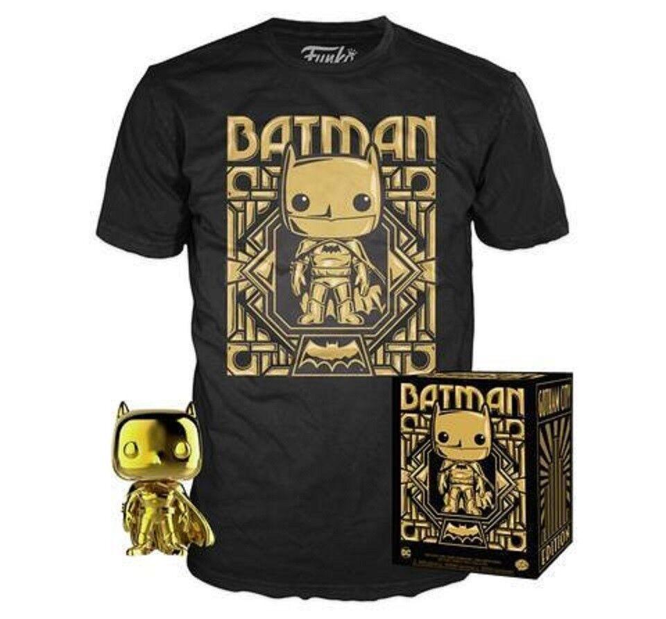 oro Chrome Batman Funko Pop Vinyl New in Sealed Box + T-shirt