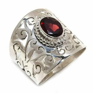 Mozambique-Garnet-Natural-Gemstone-925-Sterling-Silver-Ring-Size-8-5-R-90