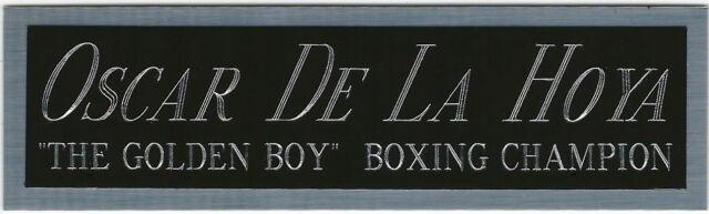 BOXING NAMEPLATE FOR SIGNED GLOVES//TRUNKS//PHOTO DISPLAY OSCAR DE LA HOYA